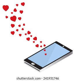 flying hearts from smart phone