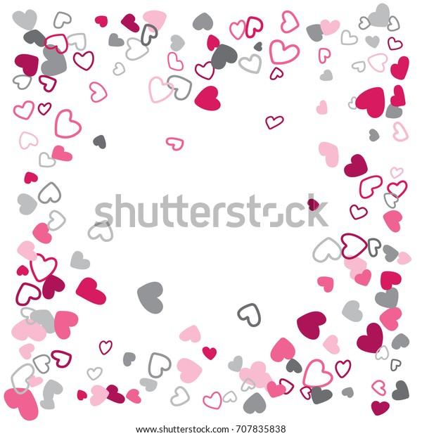 Flying Hearts Vector Border Frame Background Stock Vector