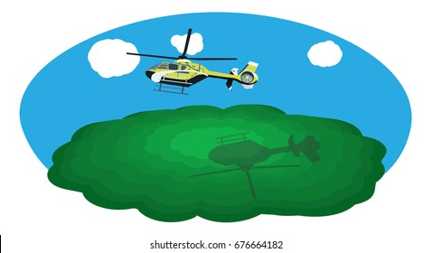 Flying helicopter in the sky with a shadow on a green mountain
