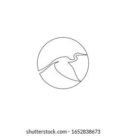 flying heron outline line art hand drawn logo vector