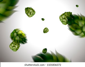 Flying hops flower design element in 3d illustration