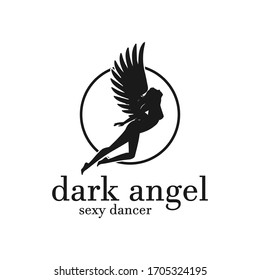Flying Hot Sexy Woman Girl Lady Angel Silhouette Logo Design Vector