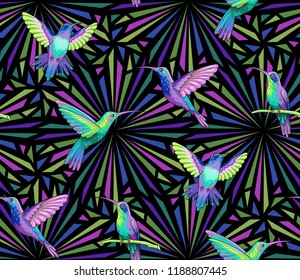 Flying hummingbirds on dark abstract geometric background. Seamless pattern for textiles and design