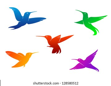 Flying hummingbirds set with color plumage isolated on white background or logo template. Jpeg version also available in gallery