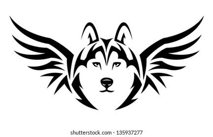Flying Husky dog. Tribal tattoo illustration