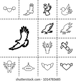 Flying icons. set of 13 editable outline flying icons such as eagle, heart with wings, angel, satellite, ufo, devil heart with wings