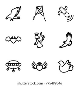 Flying icons. set of 9 editable outline flying icons such as eagle, ufo, heart angel wings, devil heart with wings, bird, angel, satellite