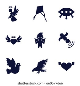 Flying icons set. set of 9 flying filled icons such as eagle, heart with wings, heart angel wings, angel, satellite, kite, ufo