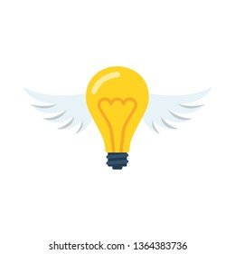 Flying idea. Creative light bulb with wings. The symbol of elusive ingenuity. Vector illustration flat design. Isolated on white background. Cartoon style.
