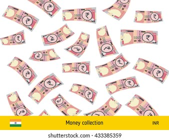 Flying Indian rupee banknote. Money rain. Falling rupee