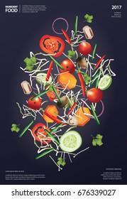 Flying Ingredient Food Vector Illustration