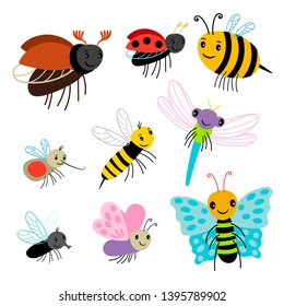 Flying insects vector collection - cartoon bee, butterfly, lady bug, dragonfly isolated on white background. Insect fly, dragonfly and bee illustration