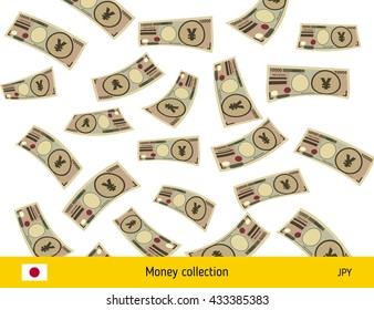 Flying Japanese yen banknote. Money rain. Falling yen