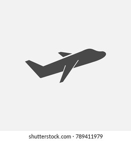 flying jet aeroplane vector in the sky traveling and transport icon gray eps10