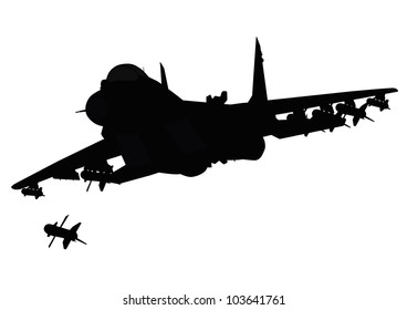 Flying jet fighter firing missile. Vector silhouette. Separate layers