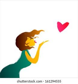 flying kiss,vector illustration