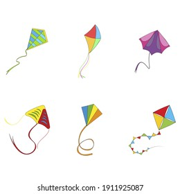 Flying kite colored collection. Vector flying kite on rope, outdoor activity playing, sankranti makar entertainment, air paper illustration