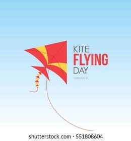 Flying kite day vector illustration.