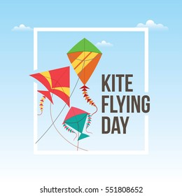 Flying kite day vector illustration.