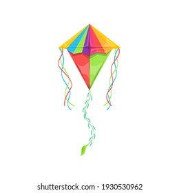 Flying kite-balloon of delta shape isolated rainbow color kids toy. Vector kite in sky, outdoor summer activity object with long strings at ends. Uttarayan International Kites Festival symbol