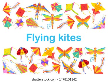 Flying kites kids summer game or summer festival. Vector cartoon kids of different shapes, ladybug and bird, butterfly and dragonfly, square origami fish, holiday leisure entertainment