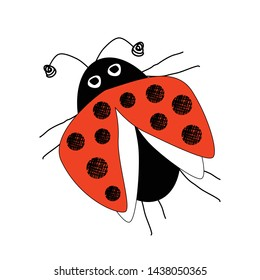 Flying ladybug insect scribble sketch