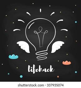 Flying Light Bulb on Chalkboard Background. Lifehack Sign.
