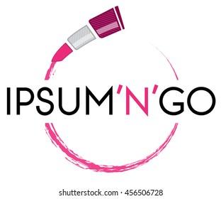 Flying lipstick, fast makeup, vector logo template