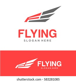 Flying Logo Vector with Letter F
