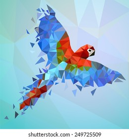 Flying low-poly parrot. Colorful vector illustration for your design.