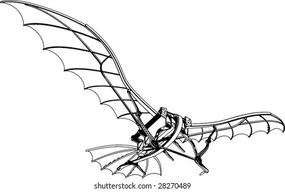 Flying Machine Based On The Leonardo da Vinci Antique Light Hang Glider Vector 01