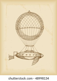flying machine sketch- sepia