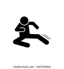 Flying man kick icon. Simple pictogram of fighting icons for ui and ux, website or mobile application
