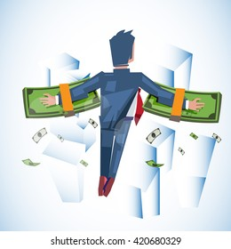 flying man with stack of money in his hand. money wing. flying with money over the city - vector illustration