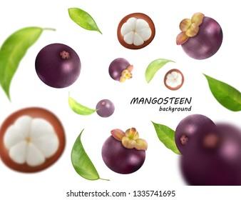 Flying mangosteens background. Mangosteen jn transparent backdrop. Vector, 3d illustration. Fruits fall