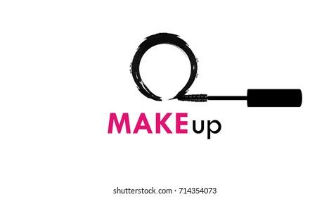 Flying mascara wand, fast makeup, vector logo template