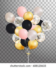 Flying Mega Bunch of silver, pink, black,gold helium balloon isolated in the air. Party decorations for birthday, anniversary, celebration. vector
