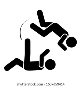 Flying men kick icon. Simple pictogram of fighting icons for ui and ux, website or mobile application