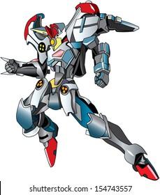Flying metallic robot warrior cyborg in red boot