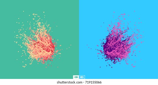 Flying meteor. Cosmic object. Array with dynamic emitted particles. Futuristic design. Abstract background. 3D Vector illustration.