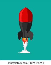 Flying missile. Military rocket. Bomb vector illustration
