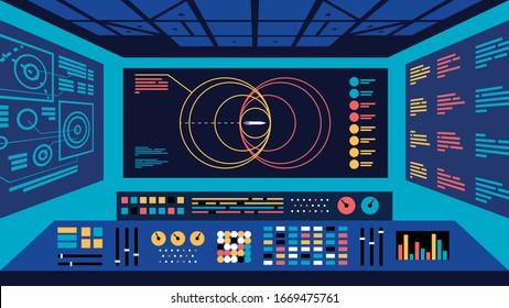 Flying mission control center monitoring spaceflight. Flat vector illustration