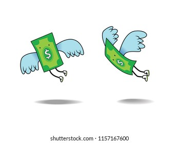 Flying Money Dollar Inflation.  vector cartoon illustration of a money with wings soaring up high.