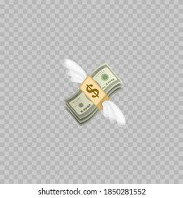 Flying money emoji with wings. Dollar stack. Vector