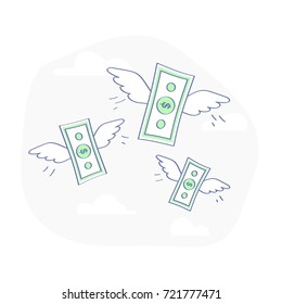 Flying money stacks of dollar banknotes. Budget Spending, Bill Expenses. Business, Financial illustration concept. Flat outline vector.