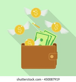 Flying money and wallet. Dollars with wings. Spending. Business concept