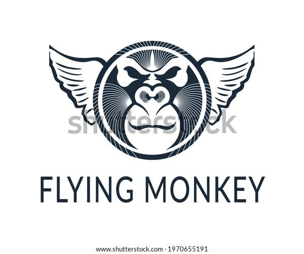 flying monkey logo icon design template
