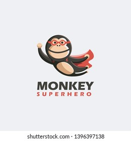Flying monkey superhero logo, monkey logo, fun mascot character logo icon vector template on white background