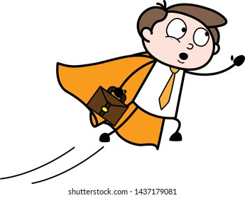 Flying Office Employee - Office Businessman Employee Cartoon Vector Illustration