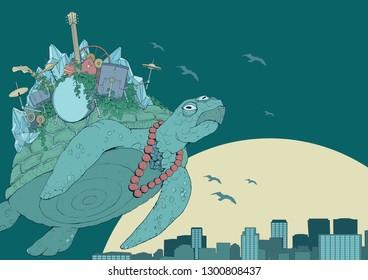 Flying over city sunset three-eyed rock band turtle digital art